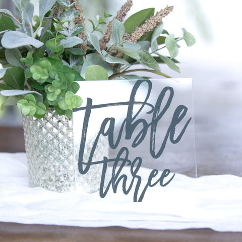 Clear Wedding Table Numbers Z Create Design