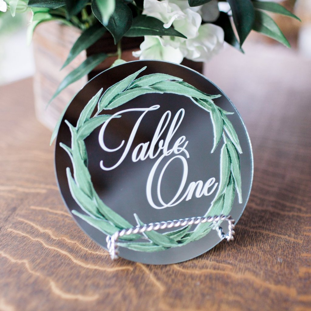 Mirror Greenery Table Numbers - Wedding Decor Gifts
