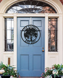 Metal Sign Front Door Monogram, Family Tree Custom Outdoor Metal Sign for House Decor Address Sign Family Sign Front Door Tree