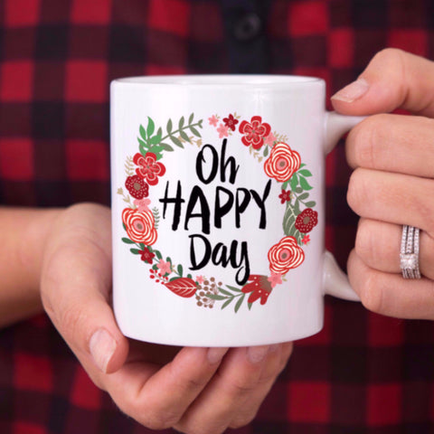 """Oh Happy Day"" Floral Mug - Wedding Decor Gifts"