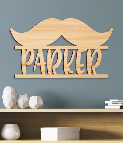 Mustache Nursery Name Sign, Kids Room Decor, Personalized
