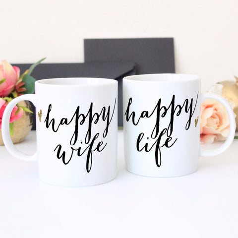 Happy Wife, Happy Life Mug Gift Set for Couples - Wedding Decor Gifts