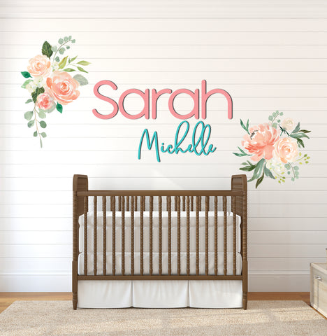 Nursery Name Sign, Large Wooden Names for Wall, Kids Bedroom Artwork