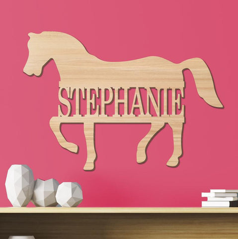 Horse Kids Room Sign, Nursery Decor, Personalized Wood Sign