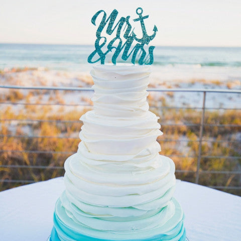 Wedding Cake Topper Anchor Mr & Mrs - Wedding Decor Gifts