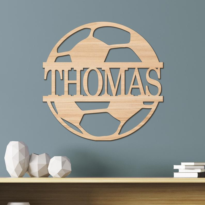 Soccer Kids Room Sign, Nursery Decor, Personalized Wood Sign