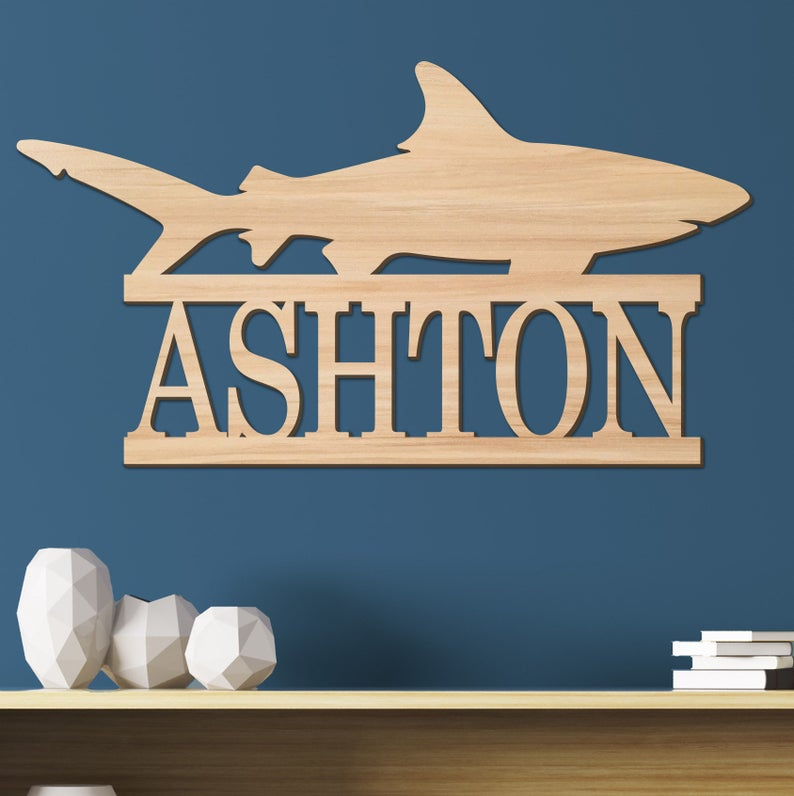 Shark Kids Room Sign, Nursery Decor, Personalized Wood Sign