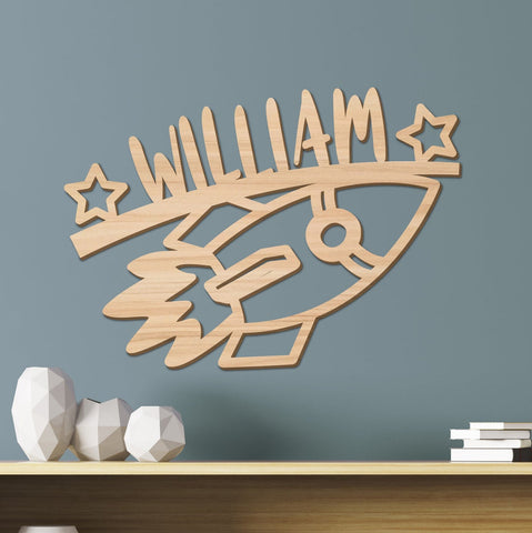 Rocket Kids Room Sign, Space Ship Nursery Decor
