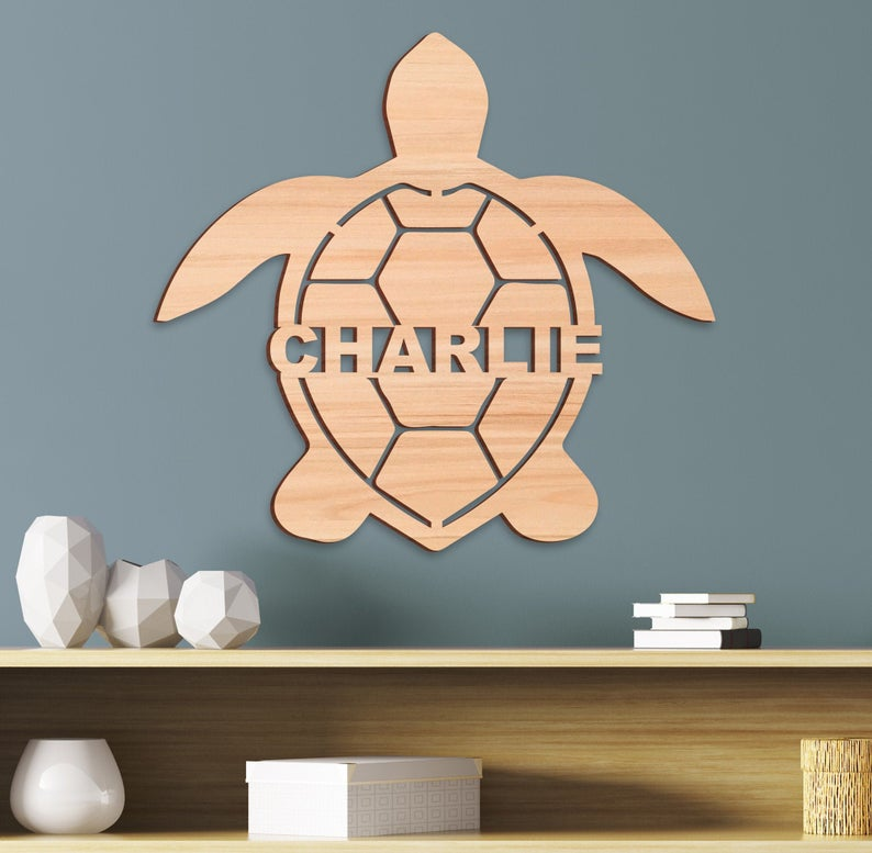 Wooden Name Turtle Kids Name Sign