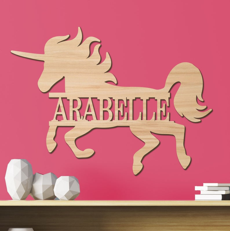 Unicorn Kids Room Sign, Nursery Decor, Personalized Wood Sign