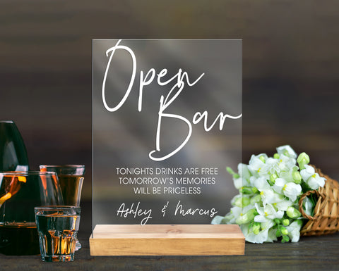 Open Bar Wedding Sign Clear or Frosted Acrylic Sign for Wedding, Bar Drinks Sign Clear Acrylic Wedding Sign & Stand