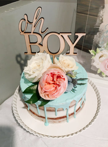 Baby Shower Cake Topper Oh Boy for Baby Boy or Gender Reveal