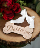 Personalized Rustic Wooden Dog Bone Ornament - Wedding Decor Gifts