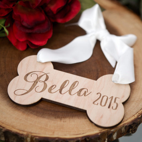 Personalized Pet Christmas Ornament Dogbone - Wedding Decor Gifts