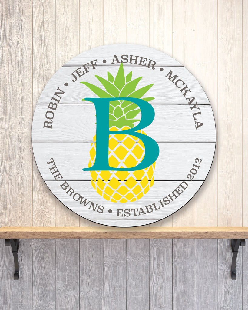 Family Name Sign Wooden Circle, Pineapple Wall Decor Established Sign Personalized Housewarming Gift Monogram Wood Circle