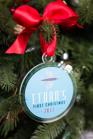 First Christmas Ornament Personalized Airplane Boy Name Clear Acrylic Glass Look Modern Holiday Decorations