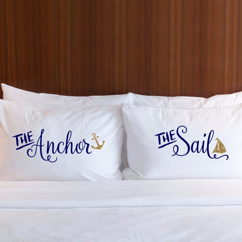 Anchor & Sail Pillowcase Set - Wedding Decor Gifts