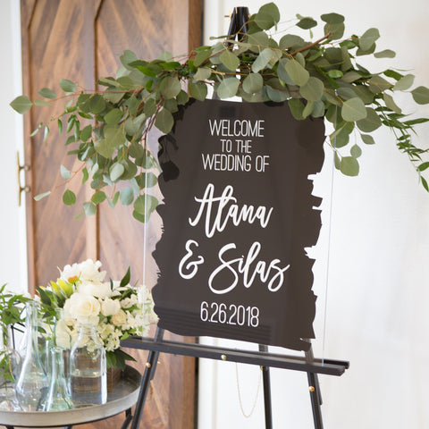 Wedding Welcome Sign Painted Style with Names Acrylic or Wood Wedding Sign Watercolor for Wedding Decoration Sign