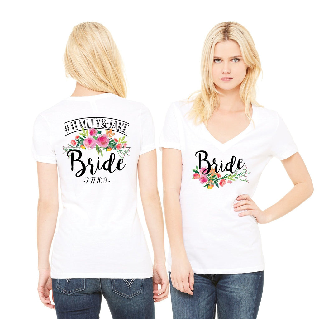 Personalized Bride Shirt with Hashtag & Wedding Date