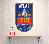 Personalized Artwork for Wall, Kids Room, Space Theme Bedroom or Nursery Decor, Boys Rocket Ship Astronaut Planets Rocket Artwork