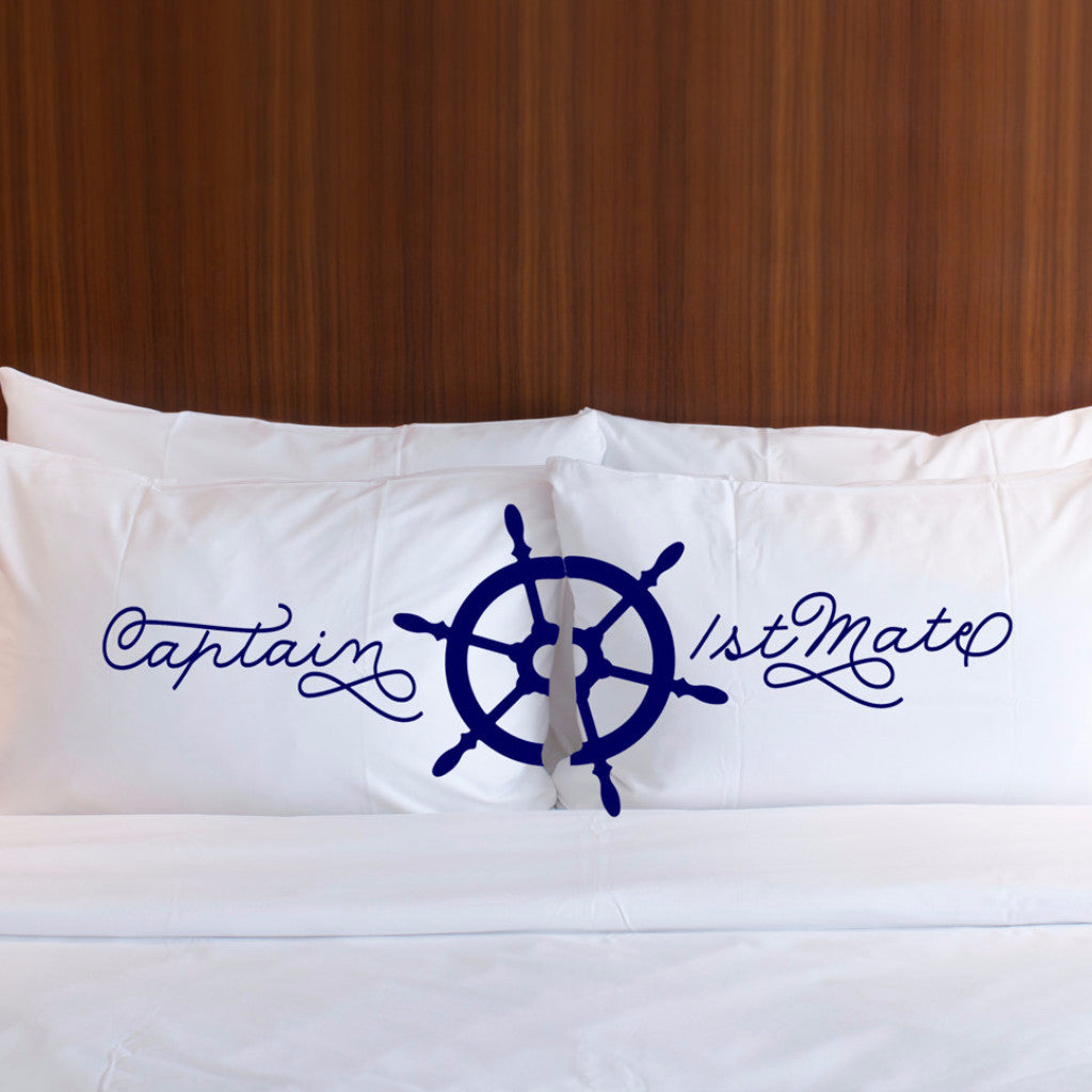 Captain & 1st Mate Pillowcase Set - Wedding Decor Gifts