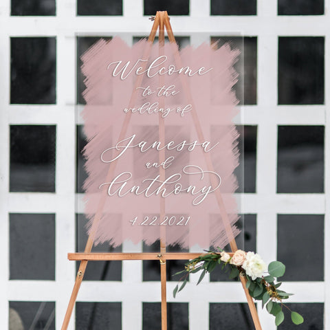 Clear Painted Wedding Welcome Sign - Wedding Decor Gifts
