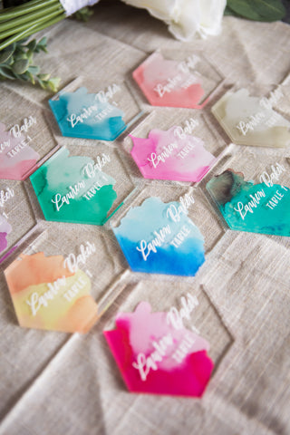 Watercolor Calligraphy Place Cards