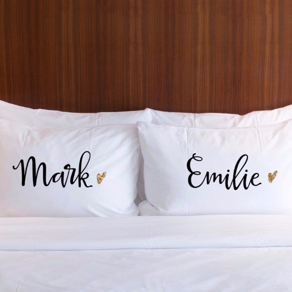 Personalized Name Pillowcases Gift for Couples - Wedding Decor Gifts