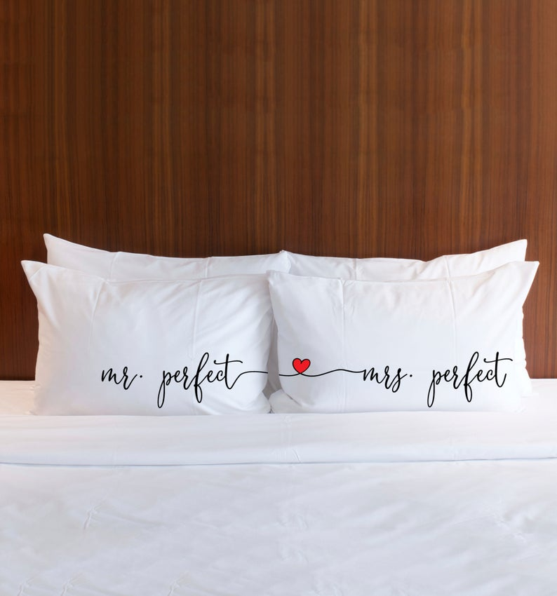 Mr and Mrs Perfect Pillow Cases with Heart - Wedding Decor Gifts