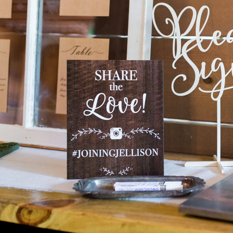 Wooden Style Wedding Hashtag Sign
