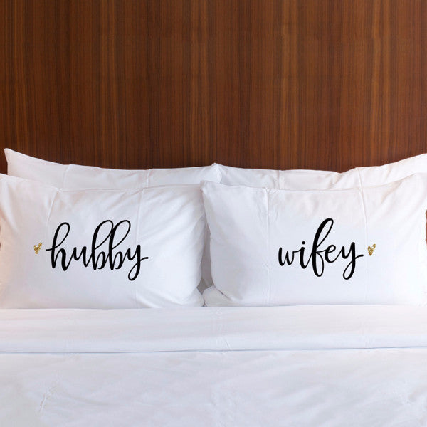 """Hubby, Wifey"" Pillow Case Set - Wedding Decor Gifts"