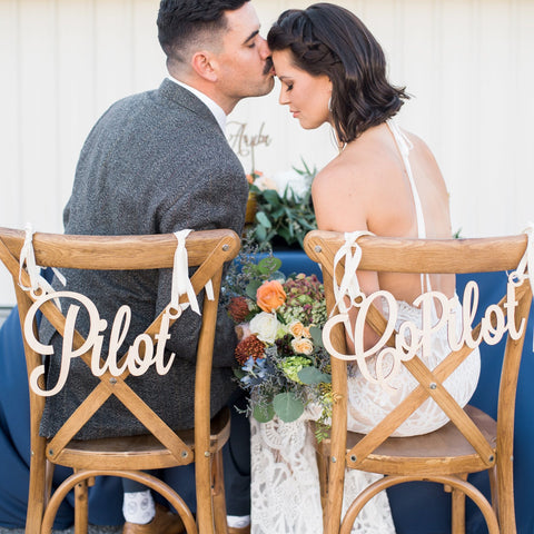 Pilot & Copilot Wedding Chair Signs