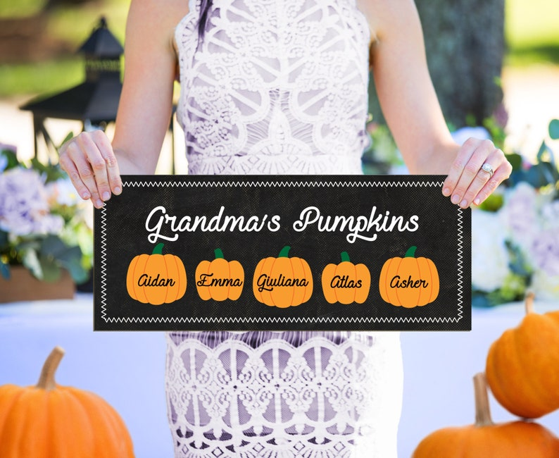 Grandkids Halloween Sign, Grandchildren sign, Grandparents Gift for Fall, Board with Names, Grandma's Pumpkins