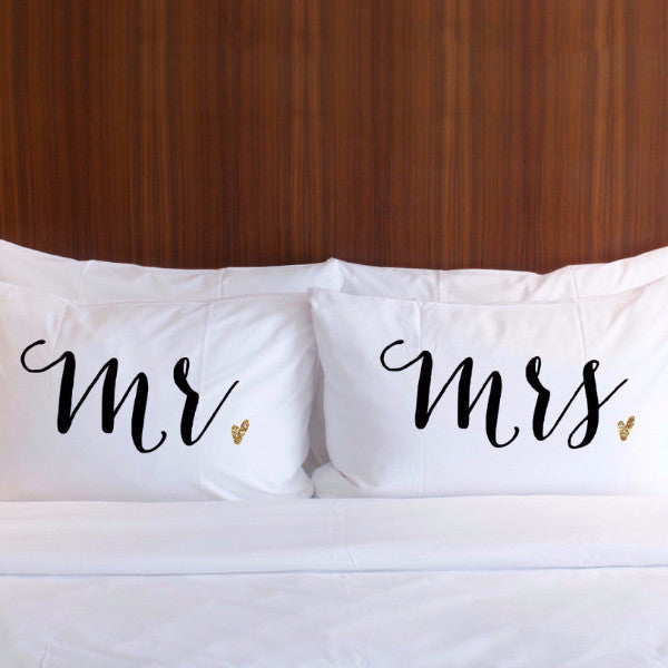 mr and mrs pillowcase set for couples, couples gift, wedding gift