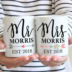 Mr & Mrs Last Name Coffee Mugs - Wedding Decor Gifts