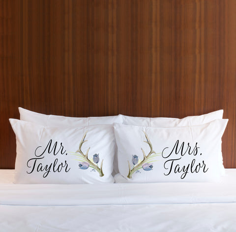 Personalized Boho Antler Pillowcases - Wedding Decor Gifts