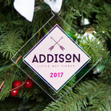 Christmas Ornament Personalized Arrows Little But Fierce Girl Name Clear Acrylic Look Modern Holiday Decorations