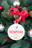 Family Christmas Ornament Personalized Family Name Surfs Up Tropical Beach Cute Beach Style Holiday Decorations