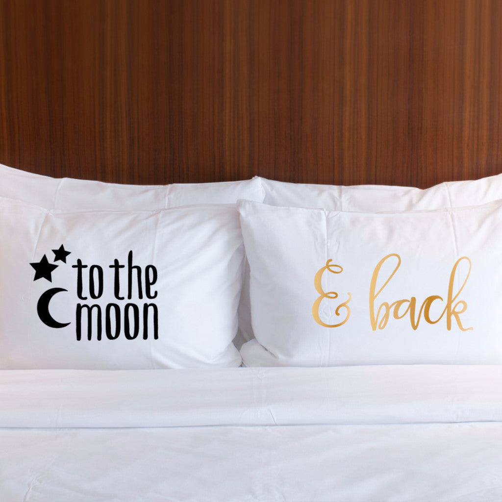 """To the Moon, & Back"" Pillowcases Gift Set - Wedding Decor Gifts"