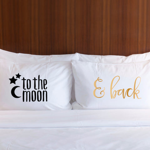 """To the Moon, & Back"" Pillowcases Gift Set - Wedding and Gifts"