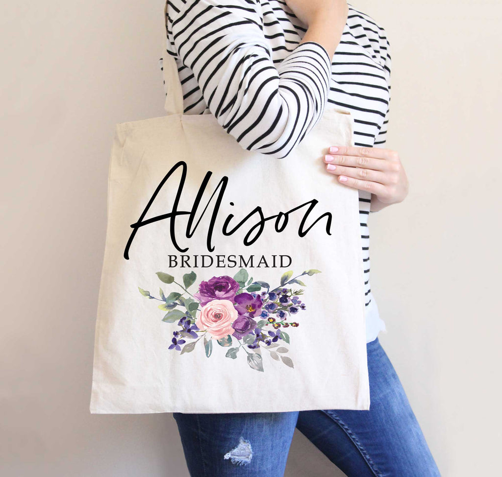 Purple Florals Bridal Party Totes - Wedding Decor Gifts