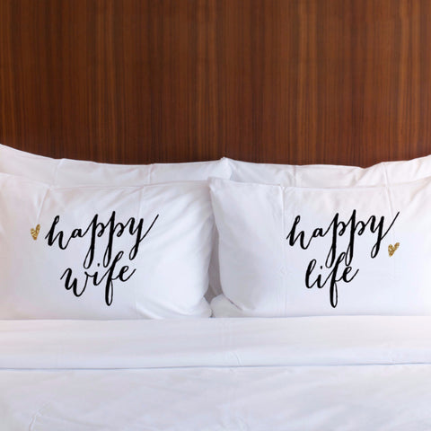 Happy Wife, Happy Life Pillowcases Gift Set - Wedding Decor Gifts