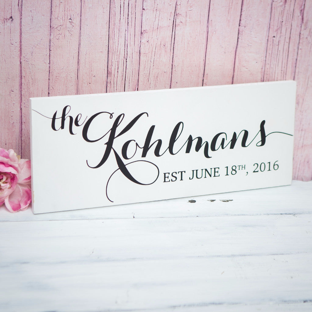 Established Name Sign - Wedding and Gifts