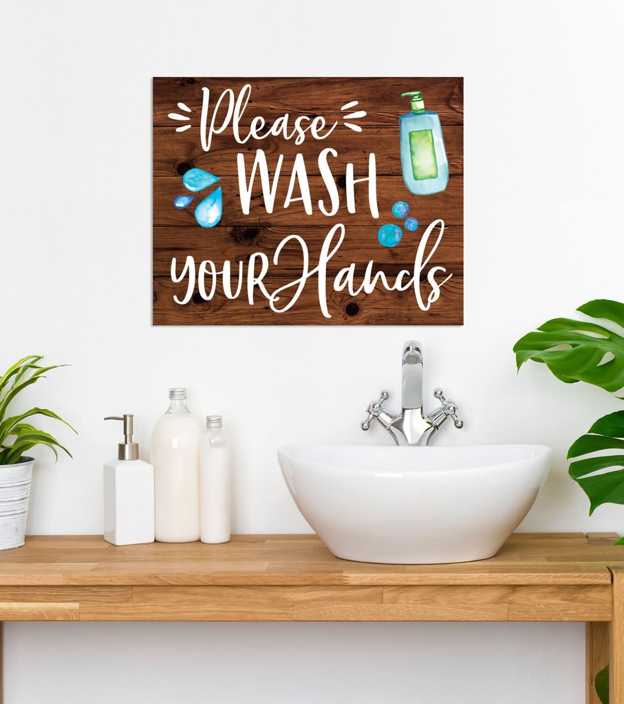 Please Wash Your Hands, Hand Washing Sign, Bathroom Sign for Sink - Wedding Decor Gifts