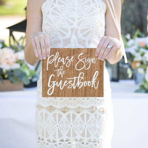 Wooden Style Guest Book Wedding Sign - Wedding Decor Gifts