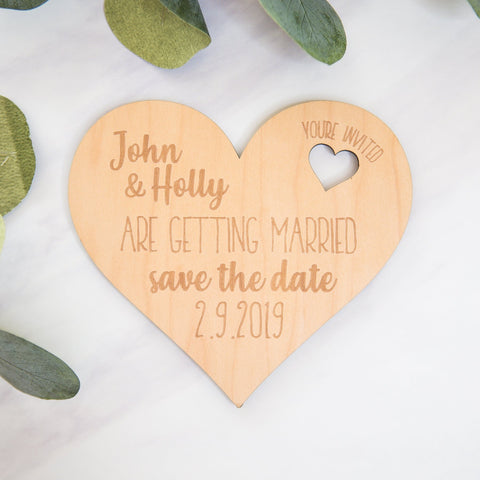 Wooden Heart Save the Date Engagement Announcement