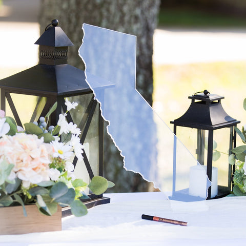 "Clear Acrylic State Wedding Guestbook 22"" - Wedding Decor Gifts"