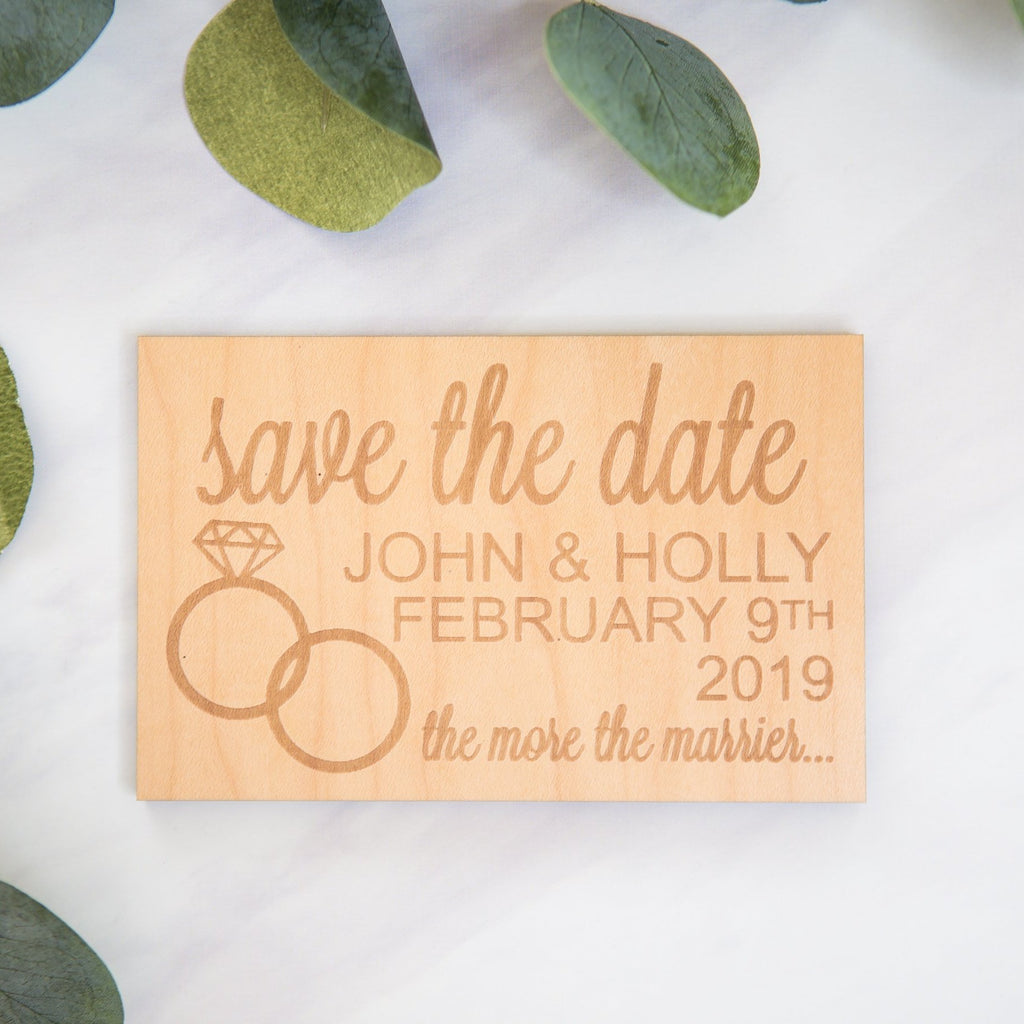 Rustic Wooden Save the Date Announcement - Wedding Decor Gifts