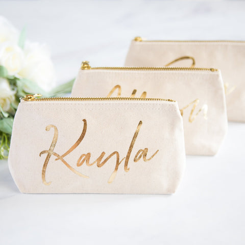 Gold Name Makeup Bags - Wedding Decor Gifts