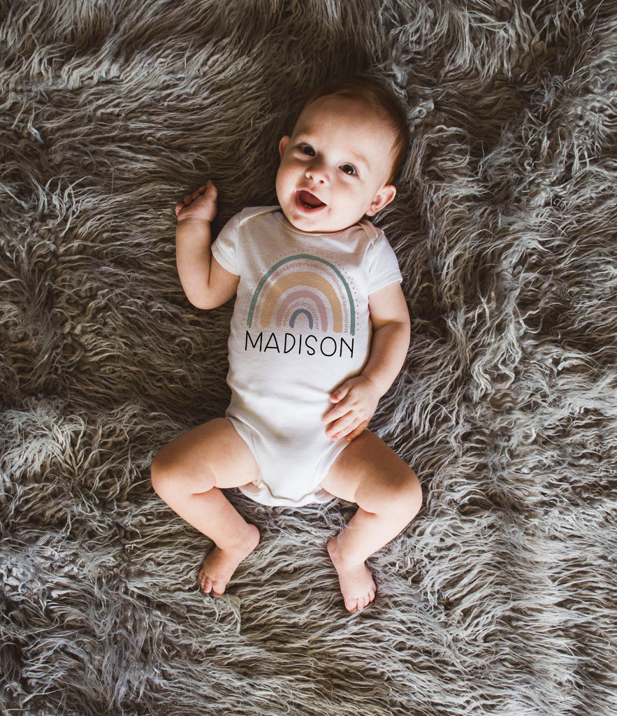Rainbow Baby Onesie Outfit Newborn to One Year Bodysuit Outfit, Boho Theme Baby Outfit for Girl, Baby Shower Gift, Announcement